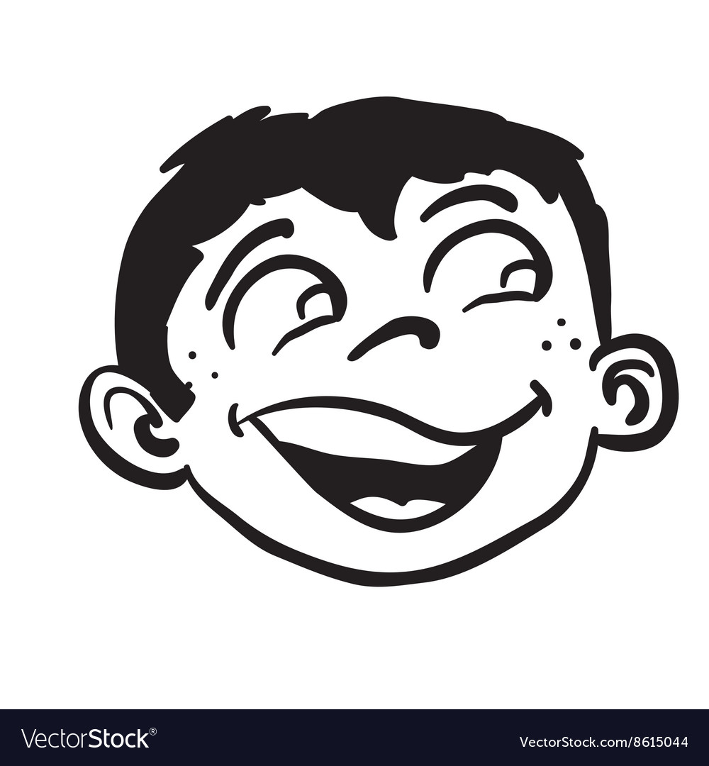 Simple black and white smiling boy head.
