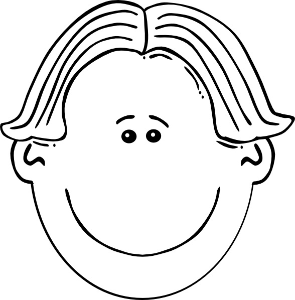 Boy Face Black & White Clip Art at Clker.com.