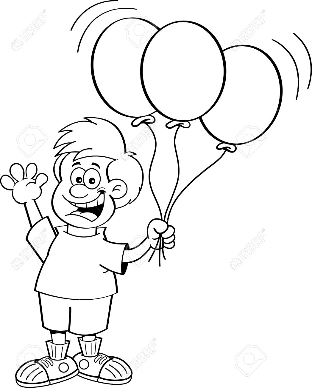 Black and white illustration of a boy holding balloons.