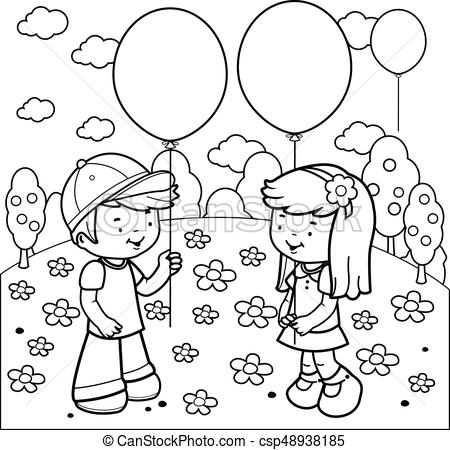 Children at the park playing with balloons. Vector coloring page.