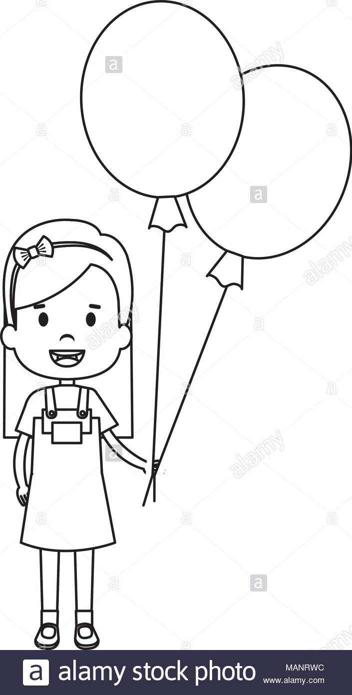 happy little girl with balloons air character Stock Vector Art.
