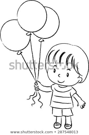 Boy holding balloons clipart black and white 1 » Clipart Portal.