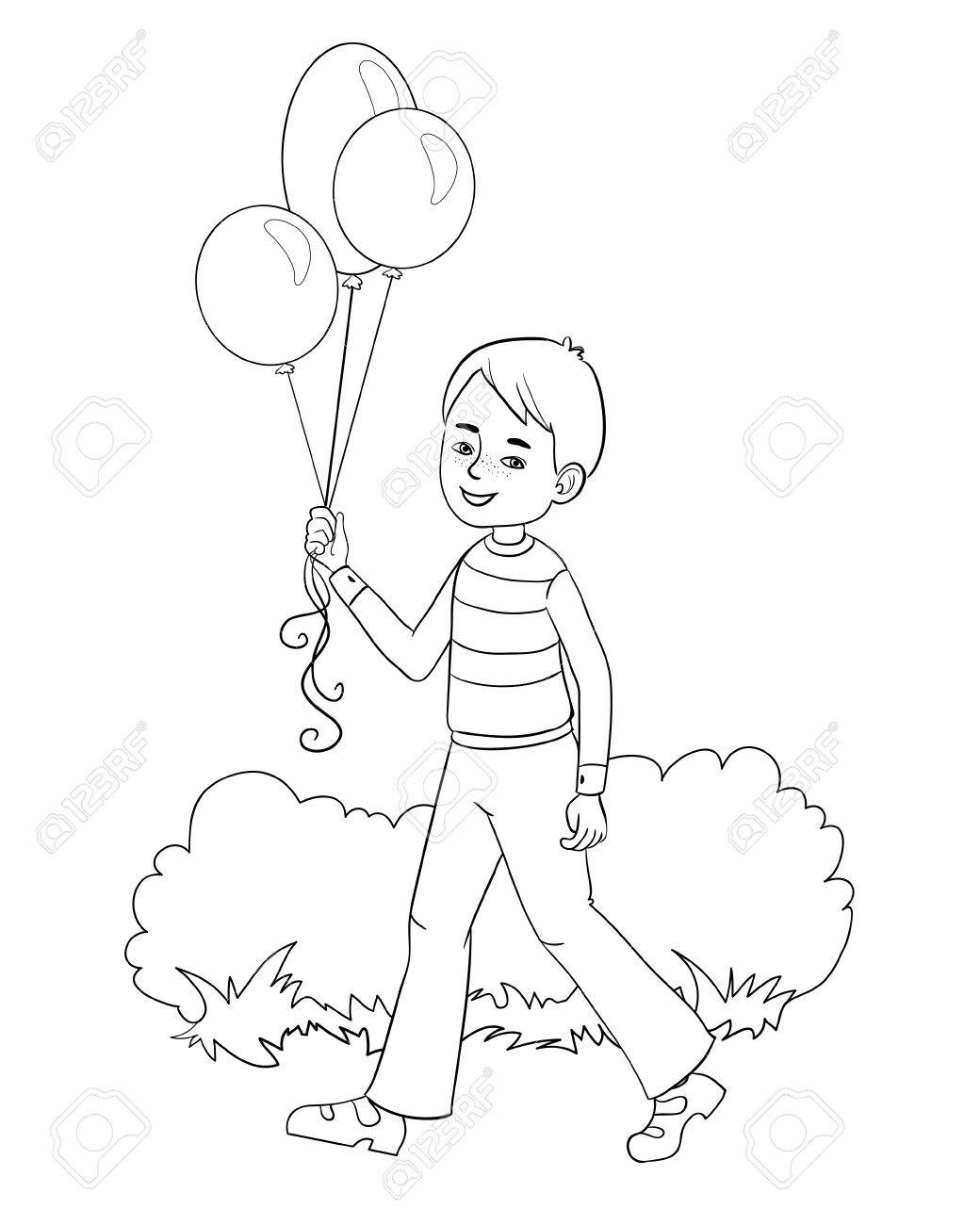Boy with balloons in hand, image, outline isolated on white.