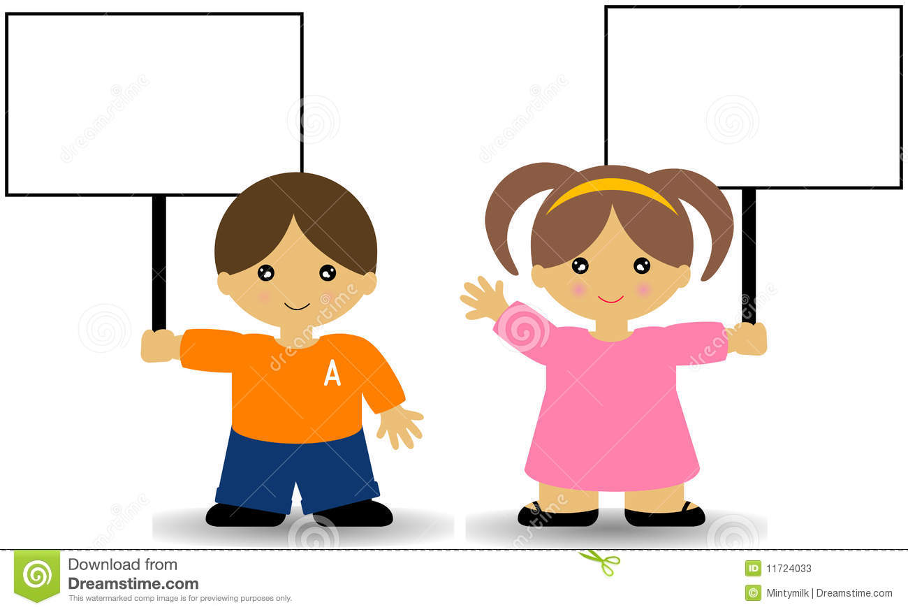 Boy Holding Sign Clipart.