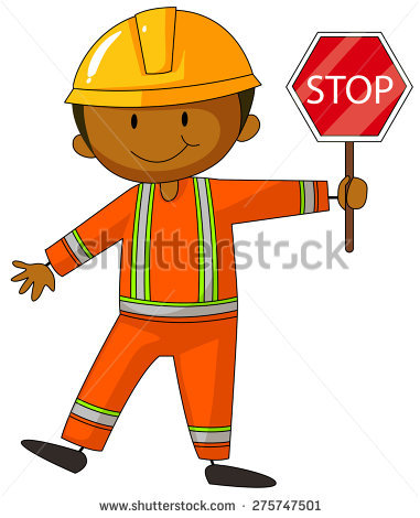 Construction Worker Stop Sign Stock Images, Royalty.