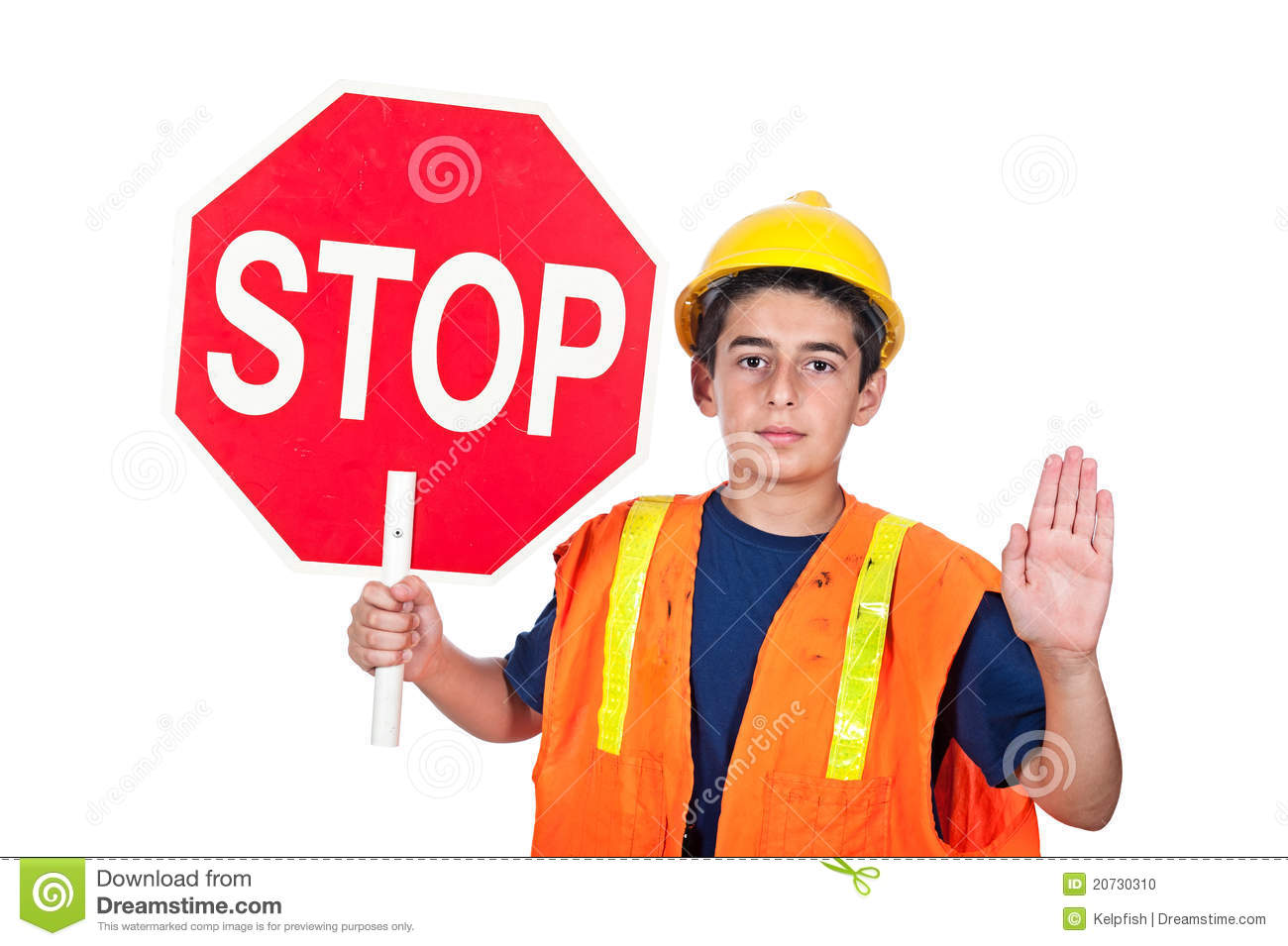 Boy Holding Stop Sign Clipart.