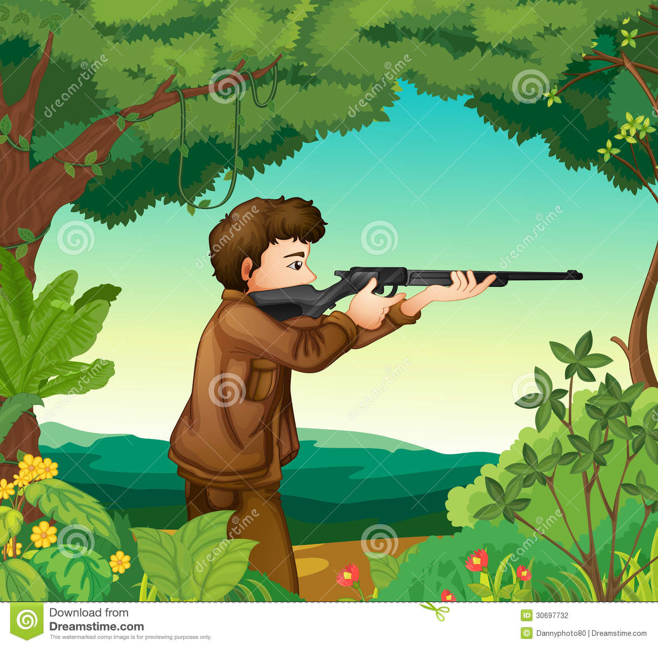 A Boy With A Gun Inside The Forest Stock Vector.