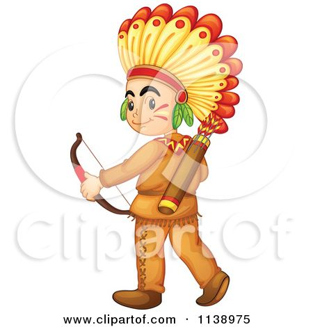 Cartoon Of A Native American Boy Hunting With A Bow.