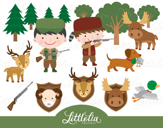 Kids Hunting Clipart.