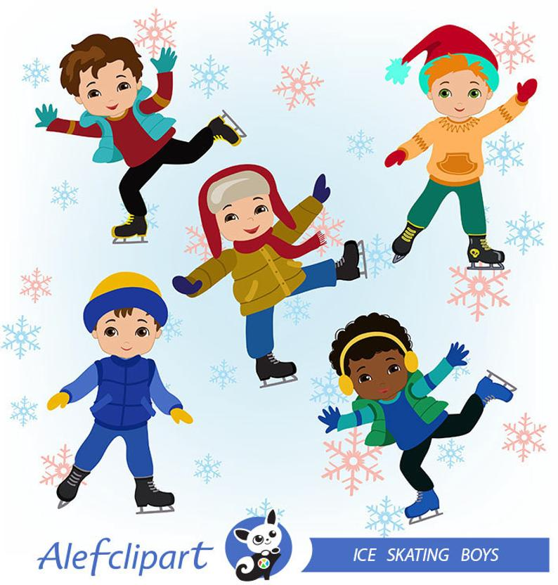 Boys Skating, Winter Ice Skating Clipart Boys Bundle.