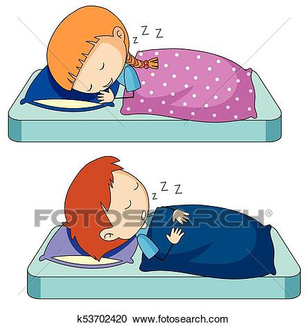 Boy and girl sleeping on bed Clipart.