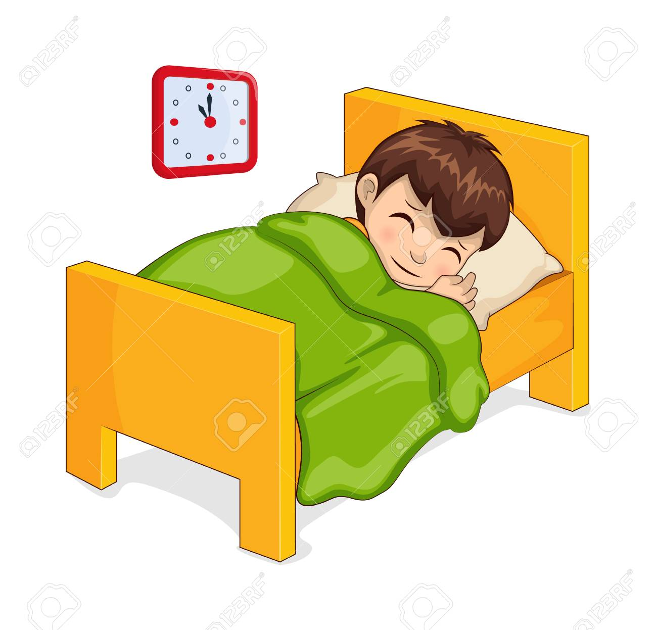 Sleeping boy in bed made of wooden material, room of child clock...
