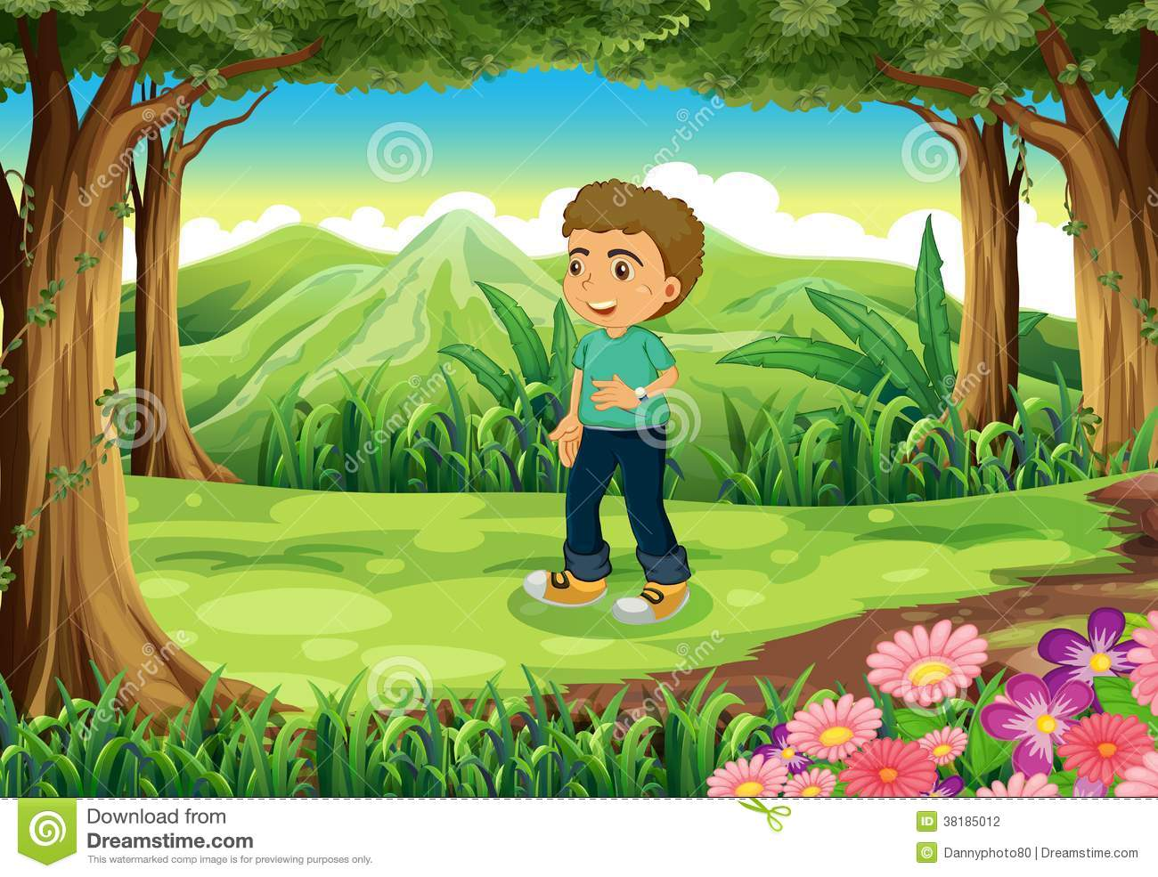 Boy In Forest Clipart.