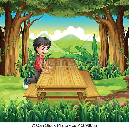 Vectors of A boy in the forest with a wooden table and bench.