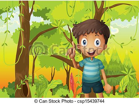 EPS Vector of A forest with a young boy wearing a stripe tshirt.