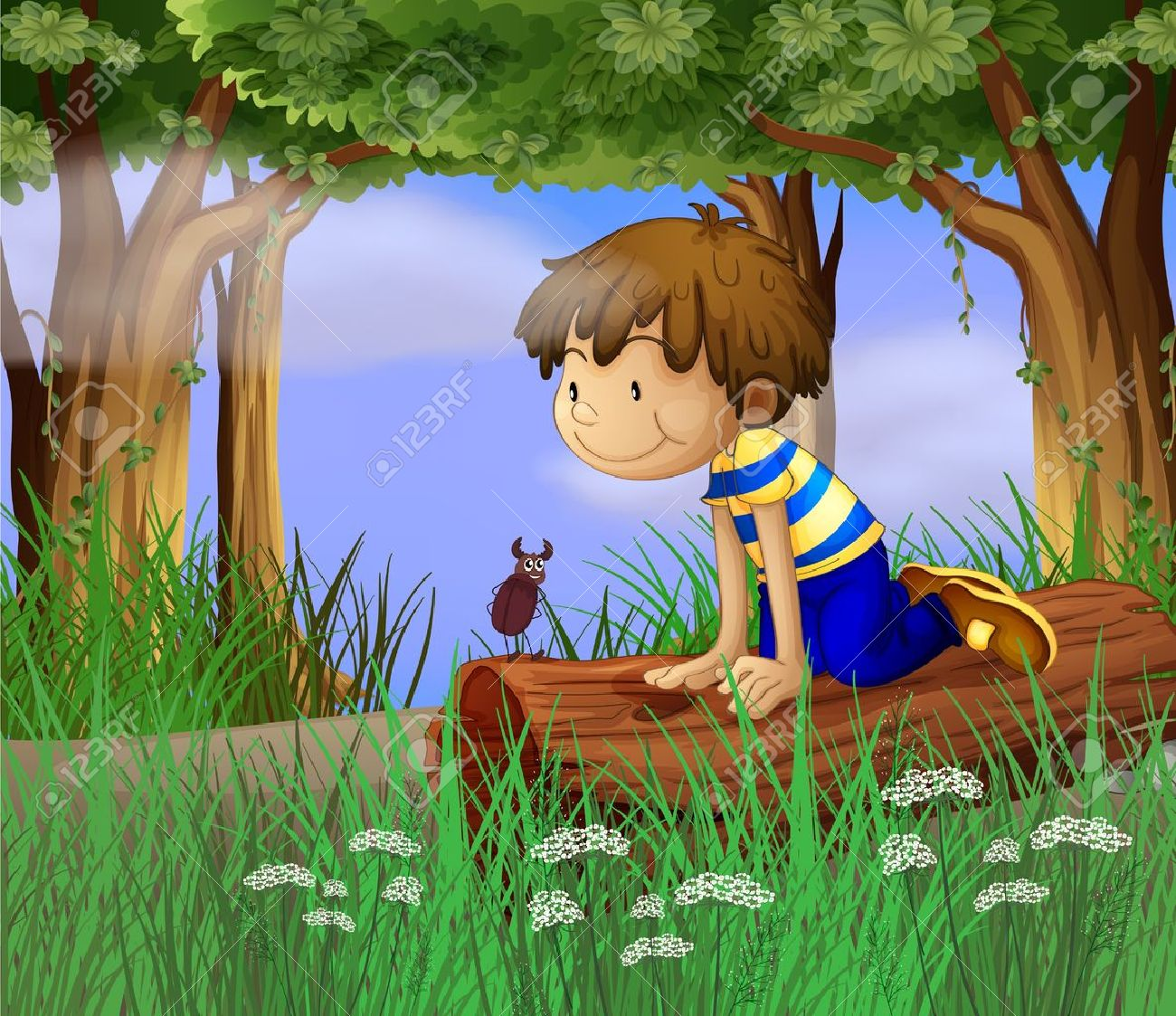 Illustration Of A Boy Watching An Insect Royalty Free Cliparts.