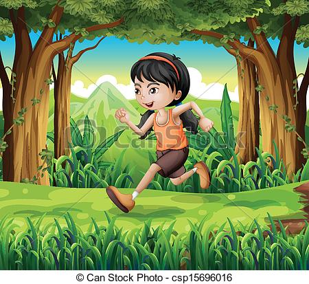 Vector Clip Art of A forest with a young girl running.