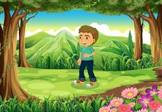 A Young Boy In The Middle Of The Woods Illustration 29021843.