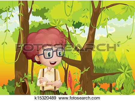 Clip Art of A curly boy in the forest near the trees k15320489.
