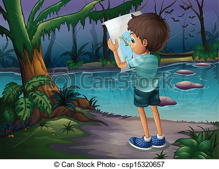 Boy In Forest Free Clipart.