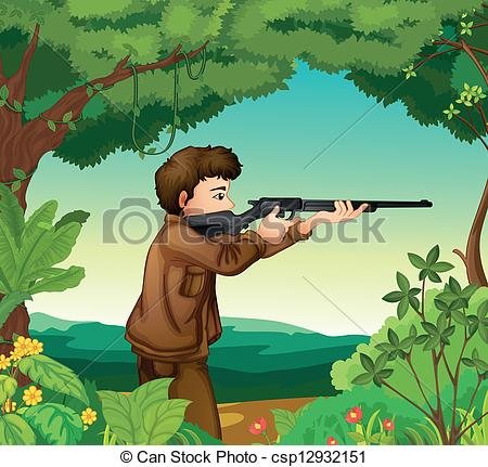 Clipart Vector of A boy with a gun inside the forest.