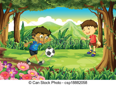 Clipart Vector of A forest with two boys playing soccer.