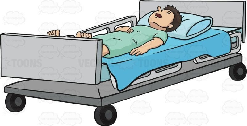 Man Is Laying In A Hospital Bed With His Hand Over His.