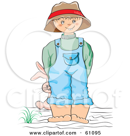 Little Boy In Dirty Overalls Clipart.