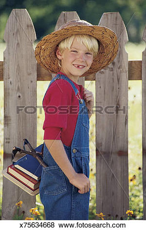 Pictures of Boy in overalls and straw hat with schoolbooks.