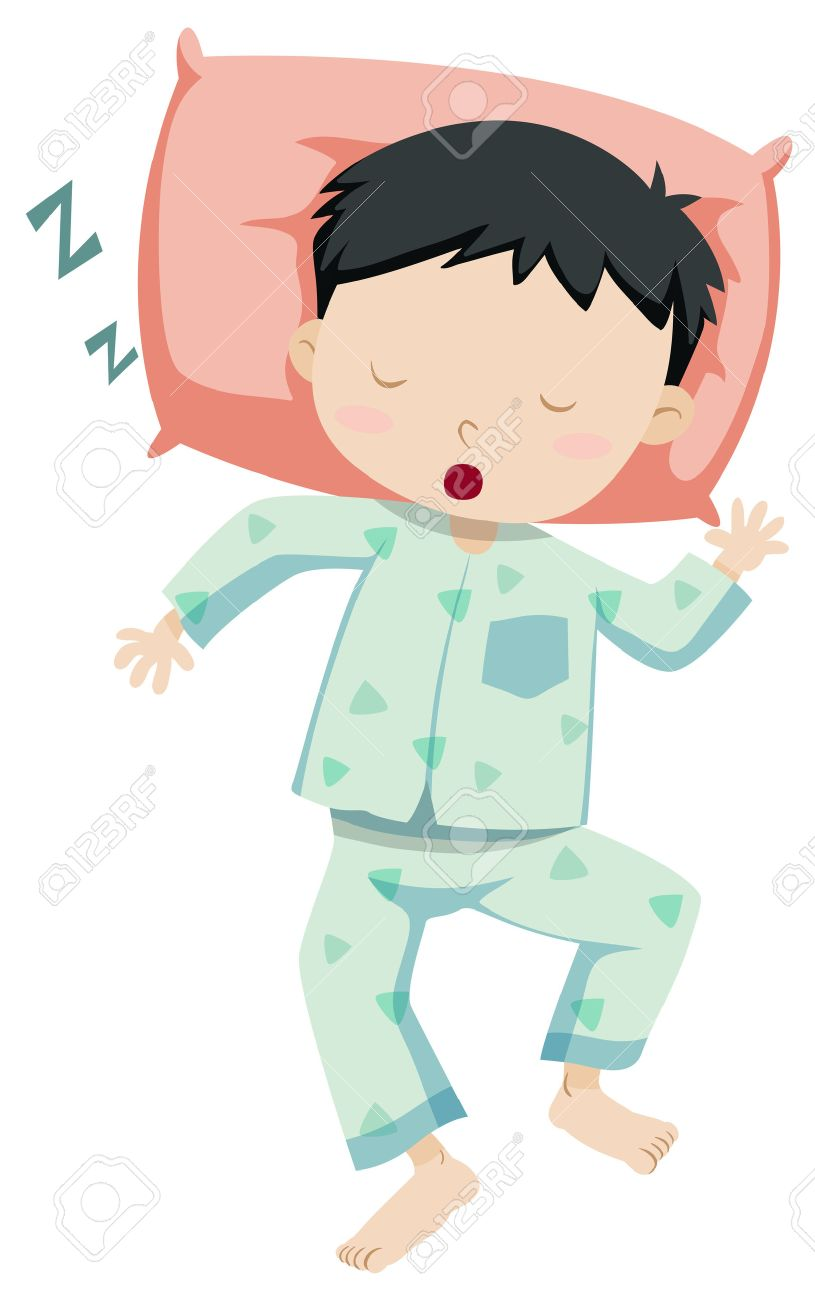 Little boy in pajamas sleeping illustration.