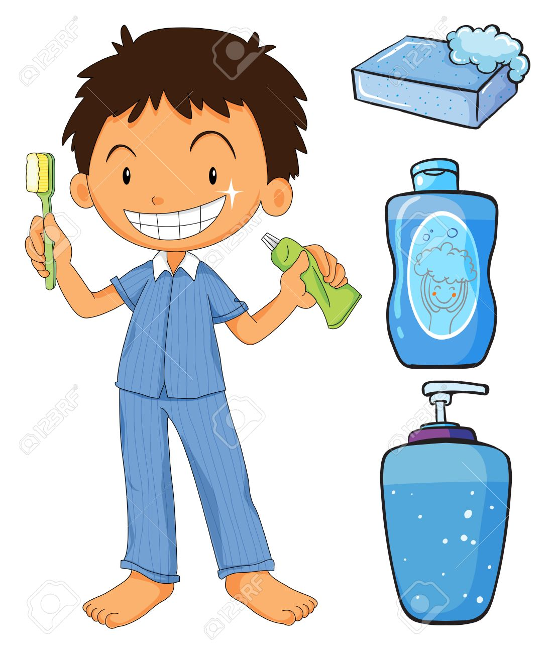 Boy in pajamas brushing teeth illustration.