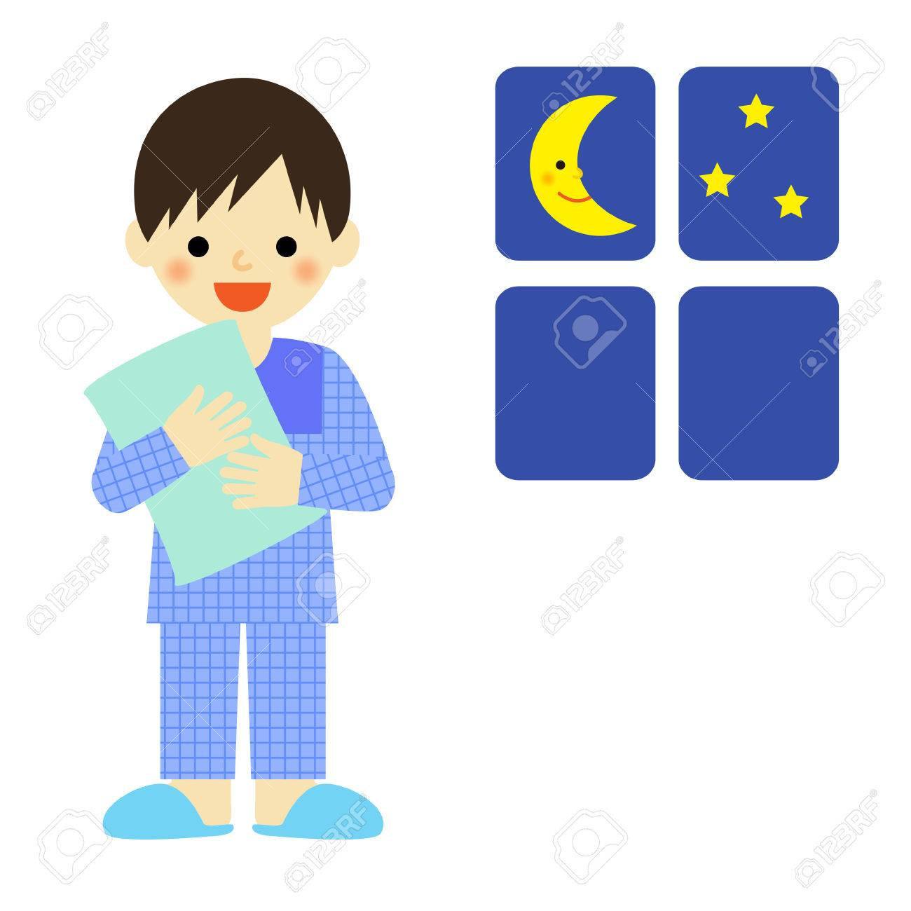Boy in pajamas holding a pillow.