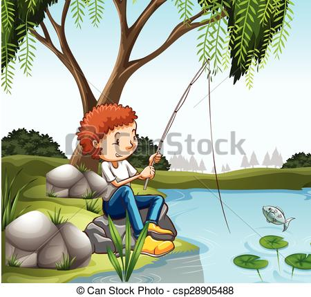 Vector of Young boy fishing in pond illustration csp28905488.
