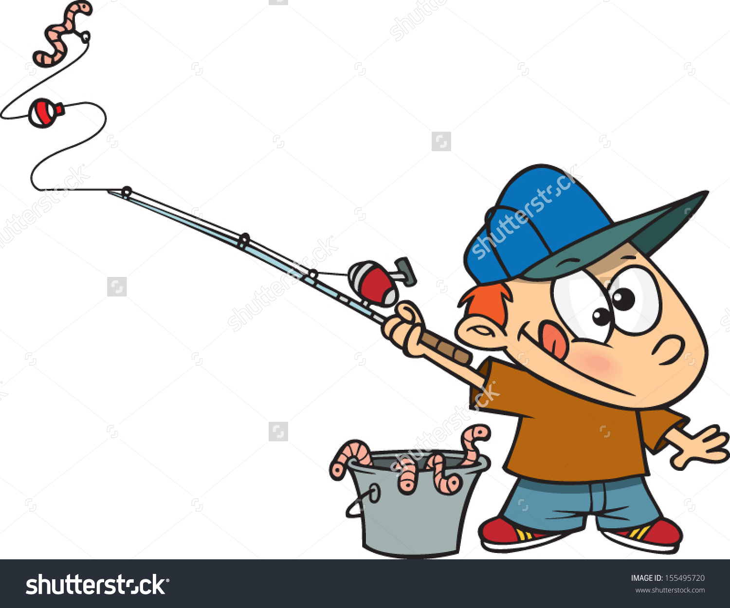 Boy in pond fishing clipart clipground for Little kid fishing pole