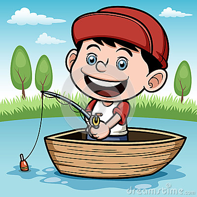 Showing post & media for Cartoon boy with fishing pond.