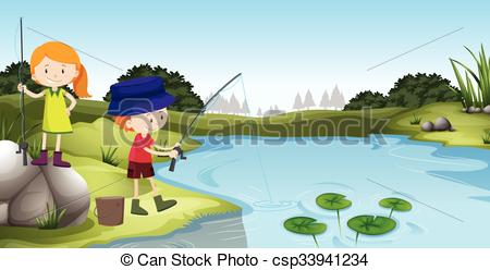 Clipart Vector of A boy fishing at the pond.