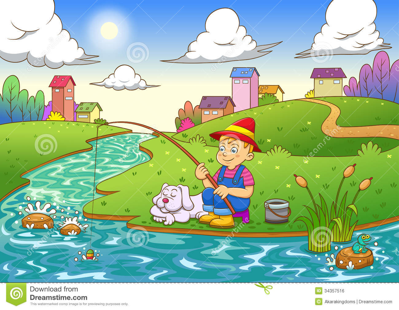 Boy In Pond Fishing Clipart.