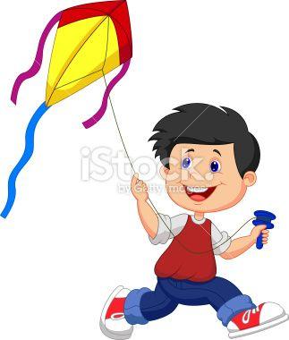 Vector illustration of Cartoon boy playing kite.