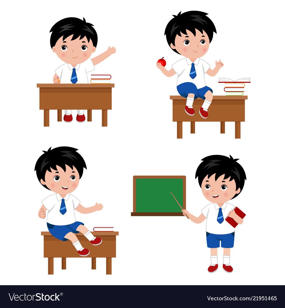 Collection of cute boys in school uniform.
