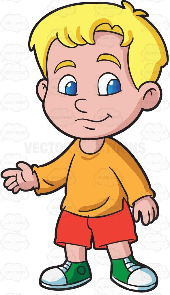 A preschooler boy in sweatshirt and shorts cartoon clipart.