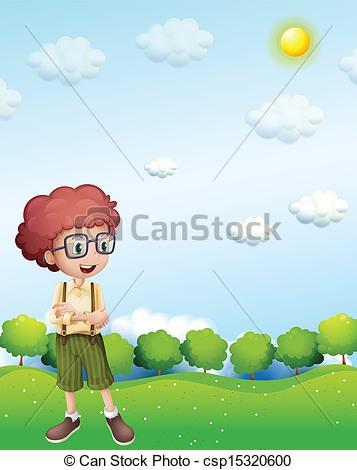Vector Clipart of A boy standing under the scorching heat of the.