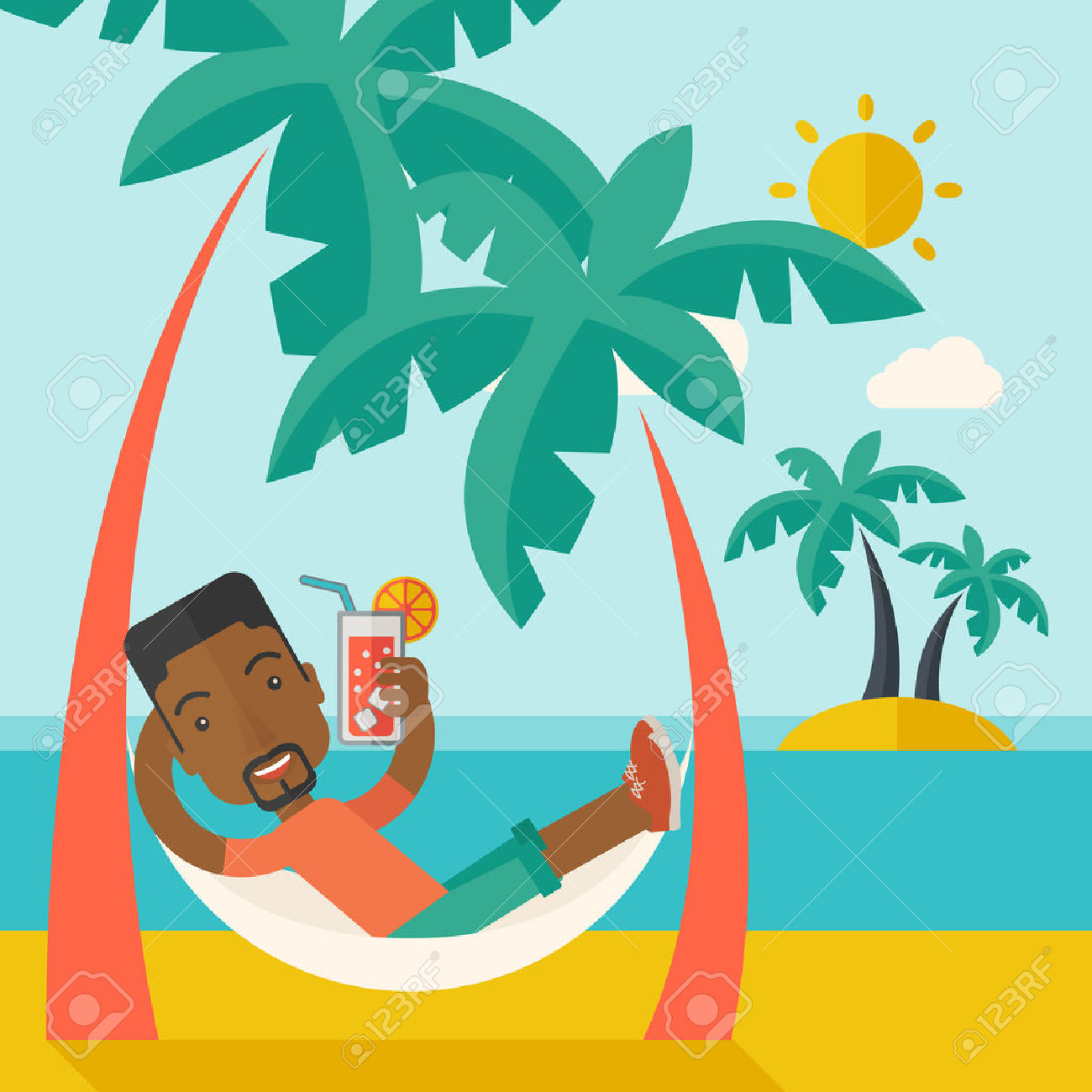 Relaxing In The Sun Clipart.