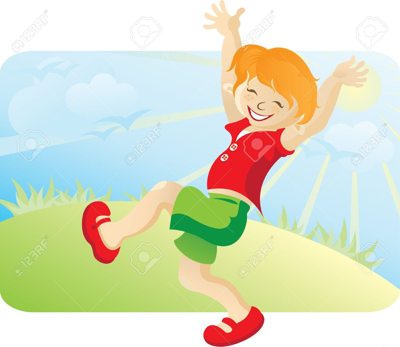 The Happy Running Boy On The Nature. Against The Blue Sky, The.