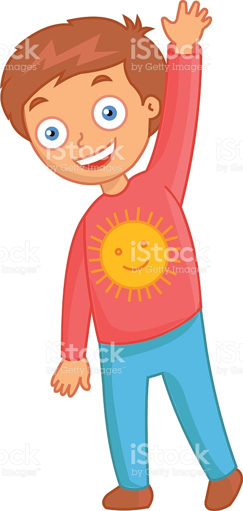 Cheerful Little Boy With The Sun On Red Jacket stock vector art.
