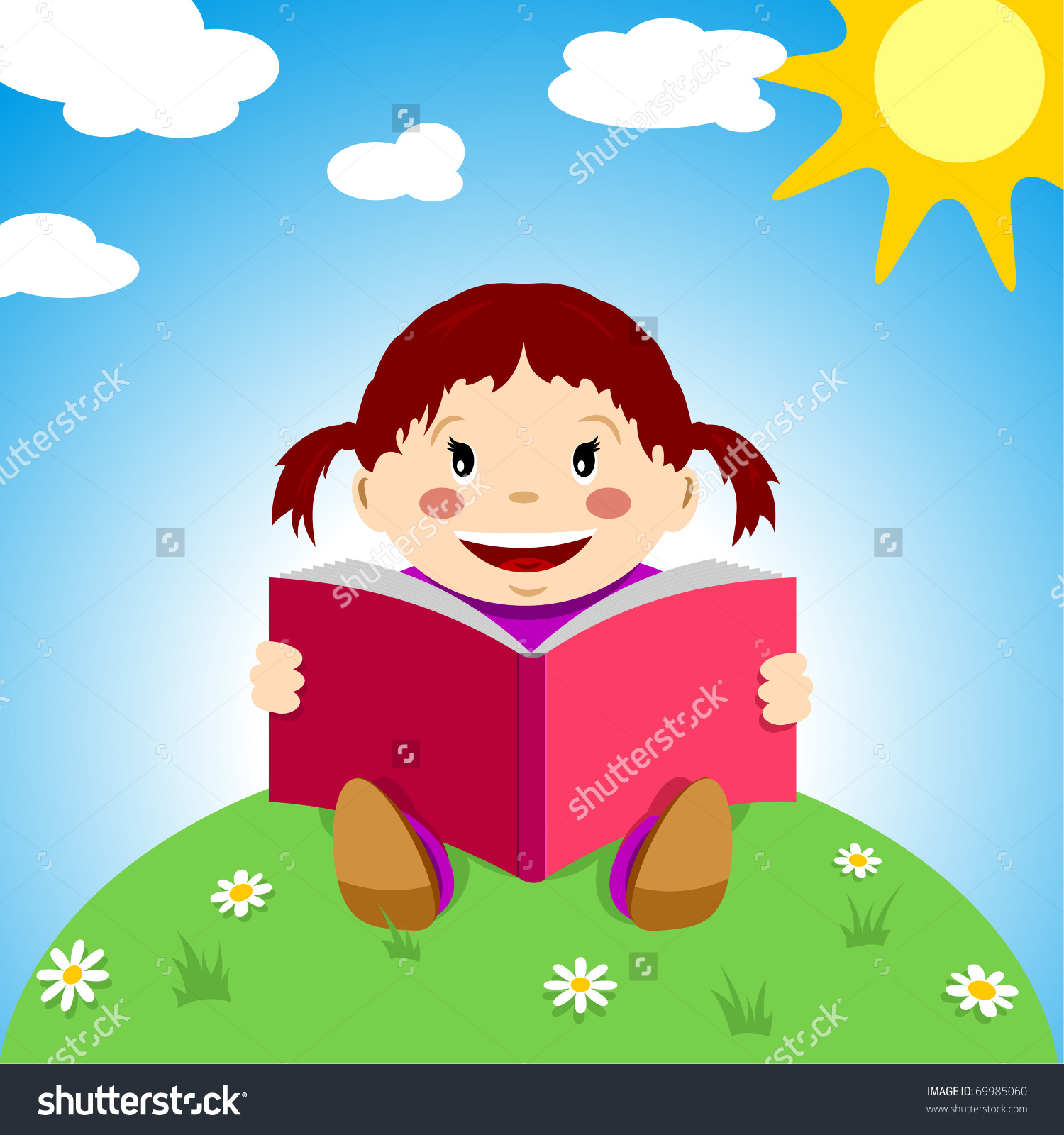 Happy Child Reads Book On Grass Stock Vector 69985060.