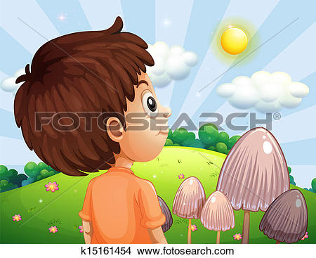 Clipart of A boy looking at the sun k15161454.