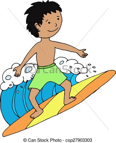 Vector Clipart of Surfer boy riding the wave. Vector illustration.