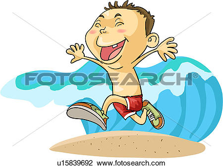Clip Art of Boy Running from a Big Wave u15839692.