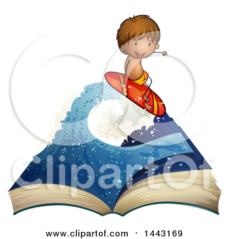Cartoon of a Surfer Boy Riding a Wave 2.