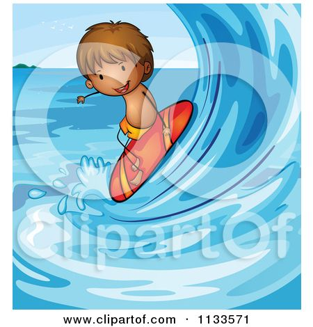 Cartoon Of A Boy Surfing A Wave.